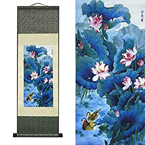 AtfArt Asian Wall Decor Beautiful Silk Scroll Painting Flowers – Lotus Chart Oriental Decor Chinese Art Wall Scroll Wall Hanging Painting Scroll (39 x 12 in)