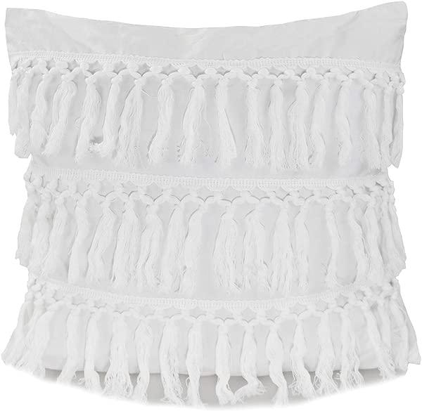 Fennco Styles Stylish Fringe Tassels Decorative Cotton Throw Pillow White 18 X18 Case Only