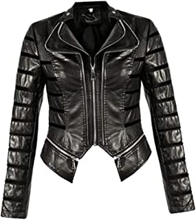 FASHIONGYAL UK W20 Panel Faux Leather PU Biker Double Zip Jacket