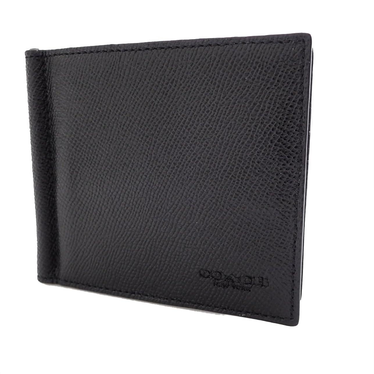湿気の多いベンチ和らげるコーチ カードケース 札入れ マネークリップ レザー ブラック系 F23847 [並行輸入品]