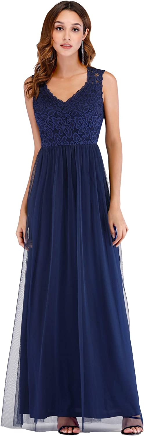 EverPretty Elegant A Line V Neck Hollow Out Long Bridesmaid Dress with Lace Bodice 07509