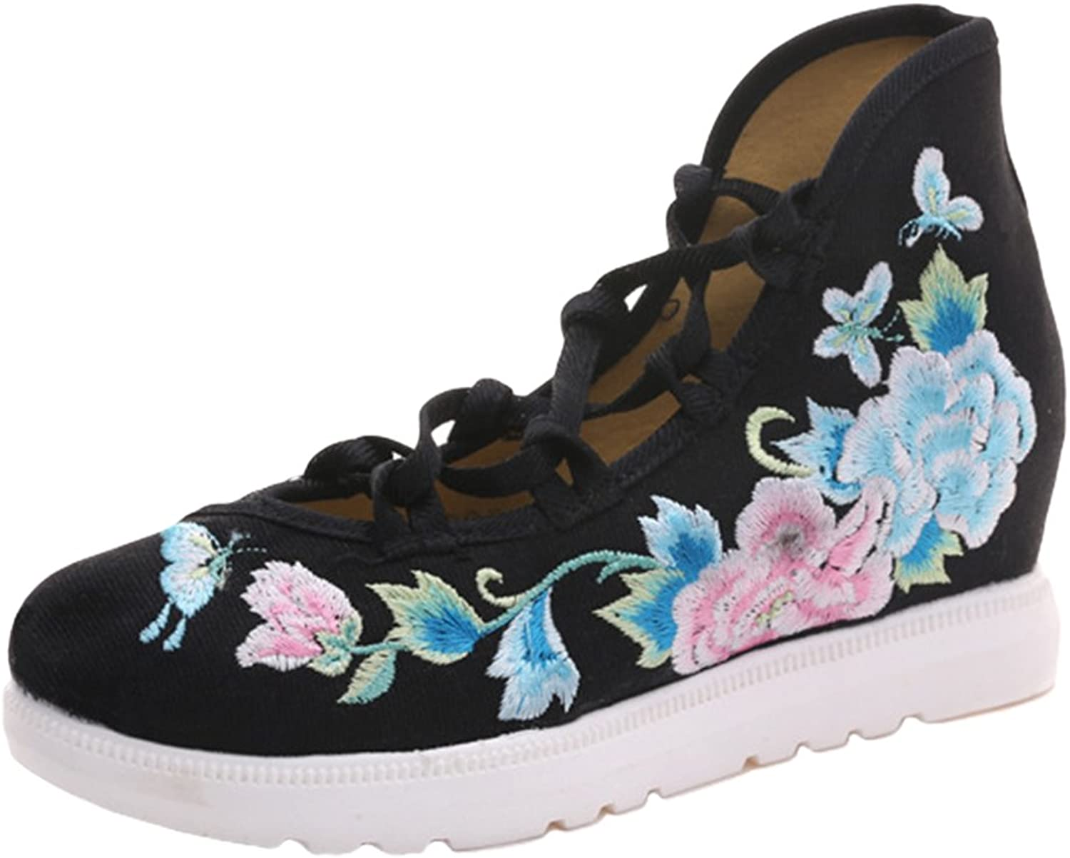 AvaCostume Womens Floral Embroidery Increase Wedge Heel Lace-up Sandals