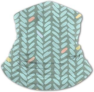 Pañuelo para la Cara de los niños Pañuelo de Onda geométrica literaria Patrón Verde Variedad para niños Pasamontañas Masca...