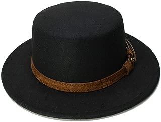 Vintage Wool Wide Brim Cap Pork Pie Porkpie Bowler Hat Solid Coffee Leather Band(54cm/Adjusted)