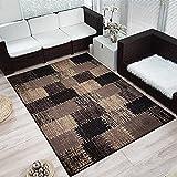 Moderner Design Kurzflor Teppich Flicken Patchwork-Optik meliert, Größe:160x230 cm, Farbe:Dunkelbraun/beige - 2