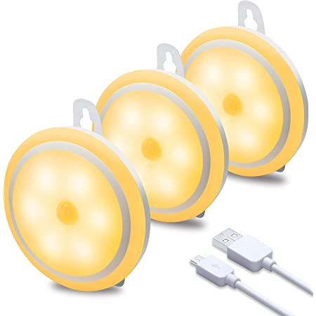 wobsion Warm White Night Lights, Motion Sensor Light Indoor, Rechargeable Puck Lights, Wireless Closet Lights, 1000mAH Closet Lights Motion Sensored,3 Installation Methods(Stick,Stand,Hangable),3 Pack