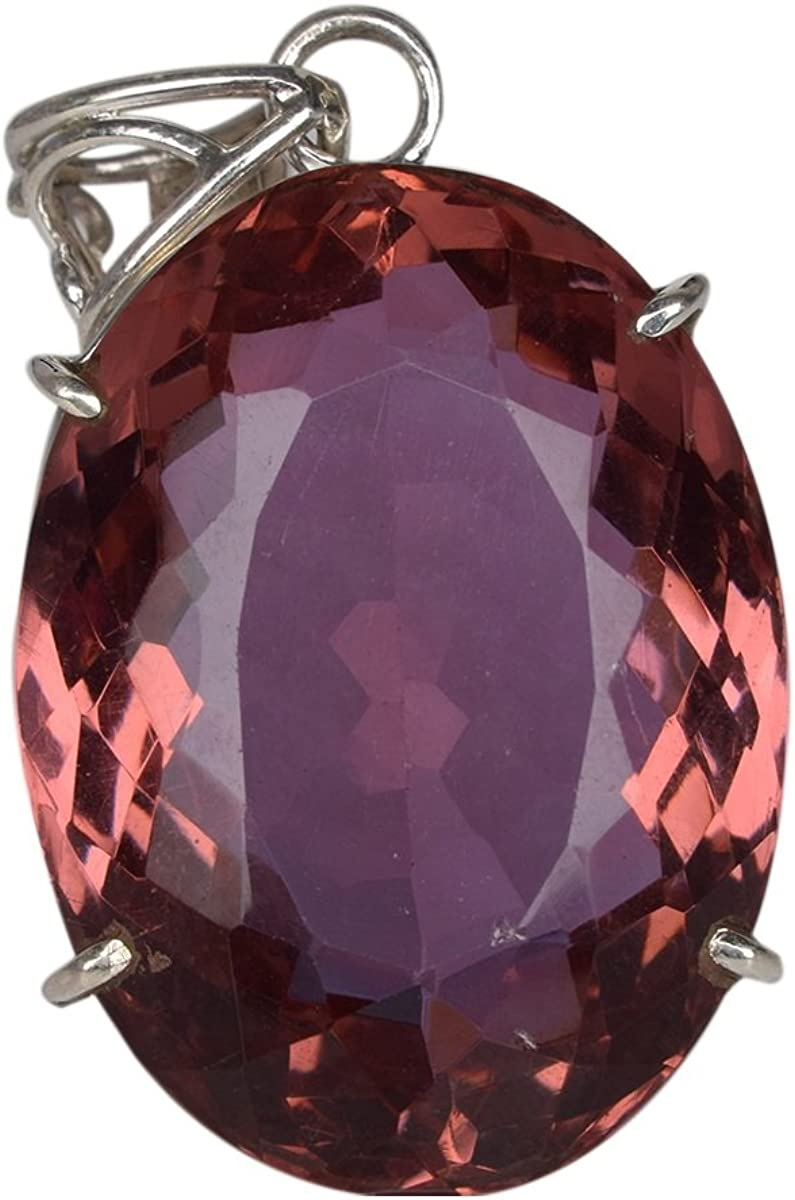 gemhub Approx 108.80 Ct. Oval Cut Color Change Alexandrite Necklace, Genuine Alexandrite Pendant for Women's DO-749