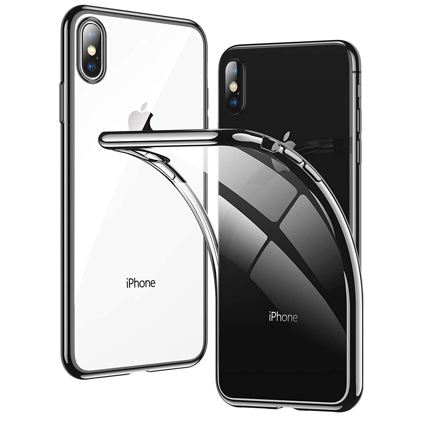 Clear iPhone Xs Max Case, RANVOO Thin Slim Fit Soft Silicone Cover with Jet Black Electroplated Bumper Case for Apple iPhone Xs Max 6.5
