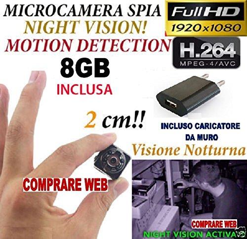 MICROSPIA SQ8 Spy Camera Spia + MICRO SD 8 GB FULL HD MOTION DETECTION TELECAMERA NASCOSTA CW150