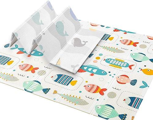 AIBAB Tapis Rampant Bébé Pliable XPE épaissie Tapis en Mousse pour Enfants portable Résiste à L'humidité Imperméable Antidérapant 150×200×1cm