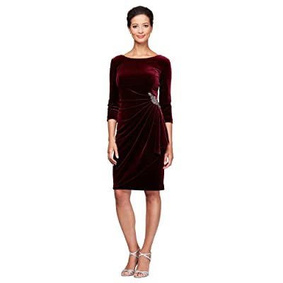 Alex Evenings Short Side Ruched Dress w/ 3/4 Sleeves and Beaded Detail At Hip