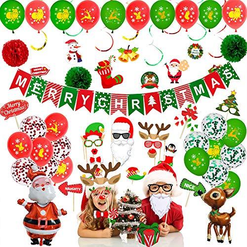McNory Kit de Arco de Guirnalda de Globos de Navidad,63 Pcs Feliz Navidad Bandera Papá Noel Kit de Globos de Decoraciones navideñas, Globo de Látex, Flor de Papel