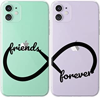 Mertak TPU Couple Cases for Apple iPhone 11 Pro Max Xs Xr X 10 8 Plus 7 6s SE 5s Symbol Infinity Loop Boyfriend BFFs Flexible Girlfriend Aesthetic Line Lightweight Anniversary Silicone Stylish