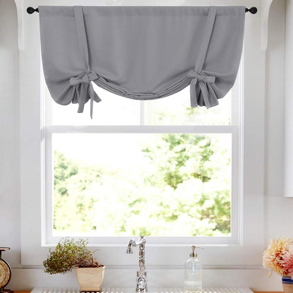 Amazon Com Tie Up Tier Curtain Grey Kitchen Curtains Room Darkening Tie Up Curtain 45 Inch Tie Up Shade Rod Pocket Adjustable Balloon Window Shades 1 Panel Home Kitchen