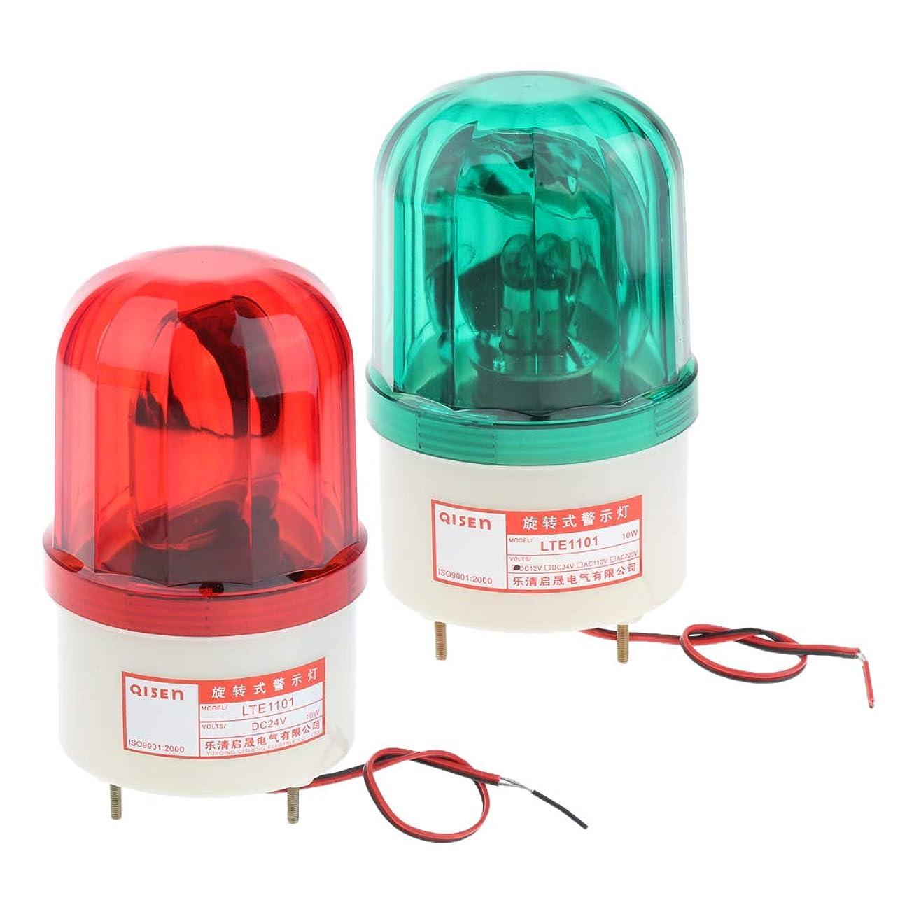狐試験ダースP Prettyia LED回転警告灯 ドア点滅ライト フラッシュ 高輝度 ストロボ グリーンと赤 点滅警告灯 2個セット