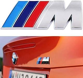wesport BMW M Power Badge Tri Color Rear Emblem Car Decal Logo Sticker,for BMW 1 3 5 7 Series E30 E36 E46 E34 E39 E60 E65 E38 X1 X3 X5 X6 Z3 Z4 (silver)