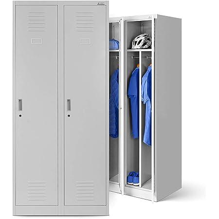 Vestiaire metallique 2B1A casier vestiaire 2 compartiments cloison Revêtement en poudre 180 cm x 80 cm x 50 cm (gris/gris)