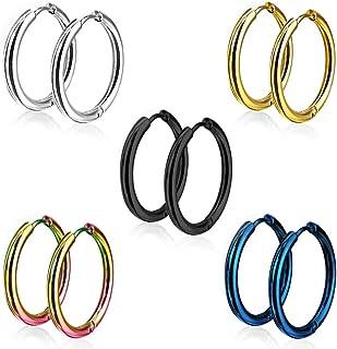 Sailimue 5 paia Orecchini a cerchio in acciaio inossidabile per uomo Donna Orecchini Huggie Piercing per lorecchio 8-16MM 18G