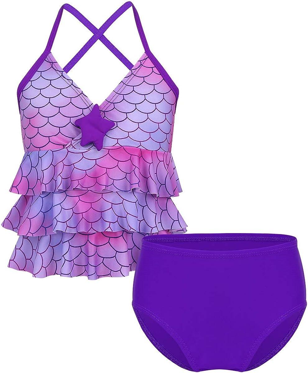 Hularka Kids Girls 2 Piece Tankini Bikini Mermaid Swimwear Criss Cross Back Ruffles Top with Bottoms Swimsuits Bathing Suits