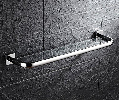 Bathroom Rack YSJ Verre trempé fixé au Mur en Verre rectangulaire d'étagère de Salle de Bains Extra épais, Sable argenté pulvérisé, (Taille : 33 * 14cm)