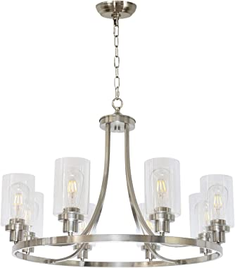 MELUCEE Modern Chandelier Brushed Nickel Finish 8 Lights, Dining Room Lighting Fixtures Hanging Industrial Pendant Lighting f
