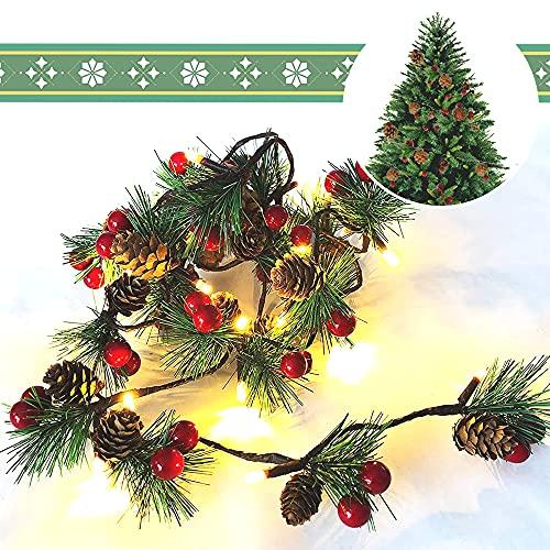 Ghirlanda di luci a LED, decorazione natalizia, pigne di abete, bacche rosse, luci a LED, ghirlanda di Natale, albero di Natale, pigne, luci di Natale