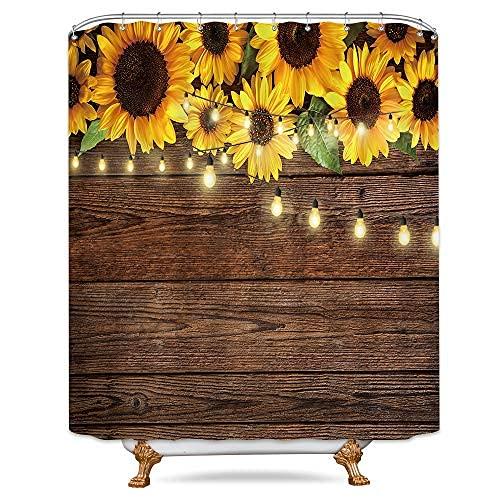 Cortina de ducha rústica con girasoles de madera, color marrón claro, amarillo país, flores de primavera, tela de plantas vintage, baño de poliéster, 172 x 172 cm