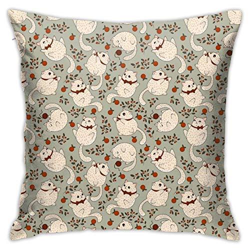 pingshang Funda de almohada, All I Want for Christmas is A Cat Throw Funda de almohada moderna para sofá, cama, silla, coche, 45,7 x 45,7 cm