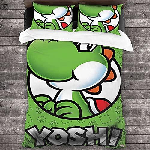 Yoshi's Crafted World Juego de ropa de cama Yoshi, artículo para fans de los juegos de cama, funda de almohada de microfibra, funda nórdica de regalo de cumpleaños (Yoshi4, 135 x 200)