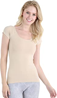 Women Seamless Cap Sleeve Scoop Neck Fitted Top, One Size
