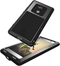 GFU Full Body Sony Xperia XA2 Case, Defender Outdoor Tempered Glass Protector Cover for Sony Xperia XA2 Hybrid Dustproof Heavy Duty Armor Metal TPU Bumper Shockproof (Black, Xperia XA2)