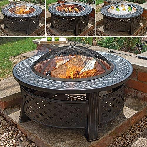 Wido COPPER ROUND STEEL GARDEN PATIO FIREPIT OUTDOOR CHIMENEA BOWL FIRE PIT BBQ