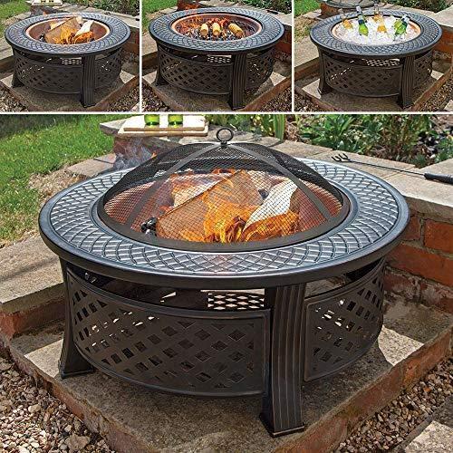 Wido COPPER ROUND STEEL GARDEN PATIO FIREPIT OUTDOOR CHIMENEA BOWL FIRE PIT BBQ
