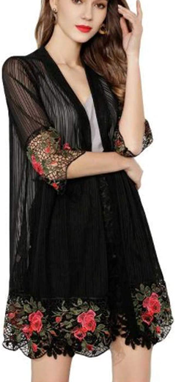 Femiserah Women's 3/4 Flare Sleeves Open Front Lace Splicing Long Kimono Cardigan Cover Ups