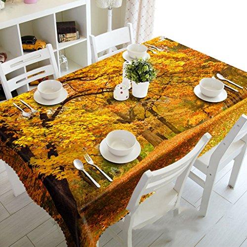Qiao jin tafelkleed herfst esdoorn bos thee stof nachtkastje tafelkleed 3D rechthoekige tafelkleed pad -milieu dorless- digitaal afdrukken waterdicht