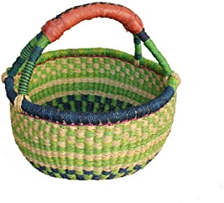 AFRICAN MARKET BASKET, Colorful Woven Fair Trade African Round Baskets for The Table, Picnic, Farmers Market, Garden, Harvest, and Toy Storage, 1 EA