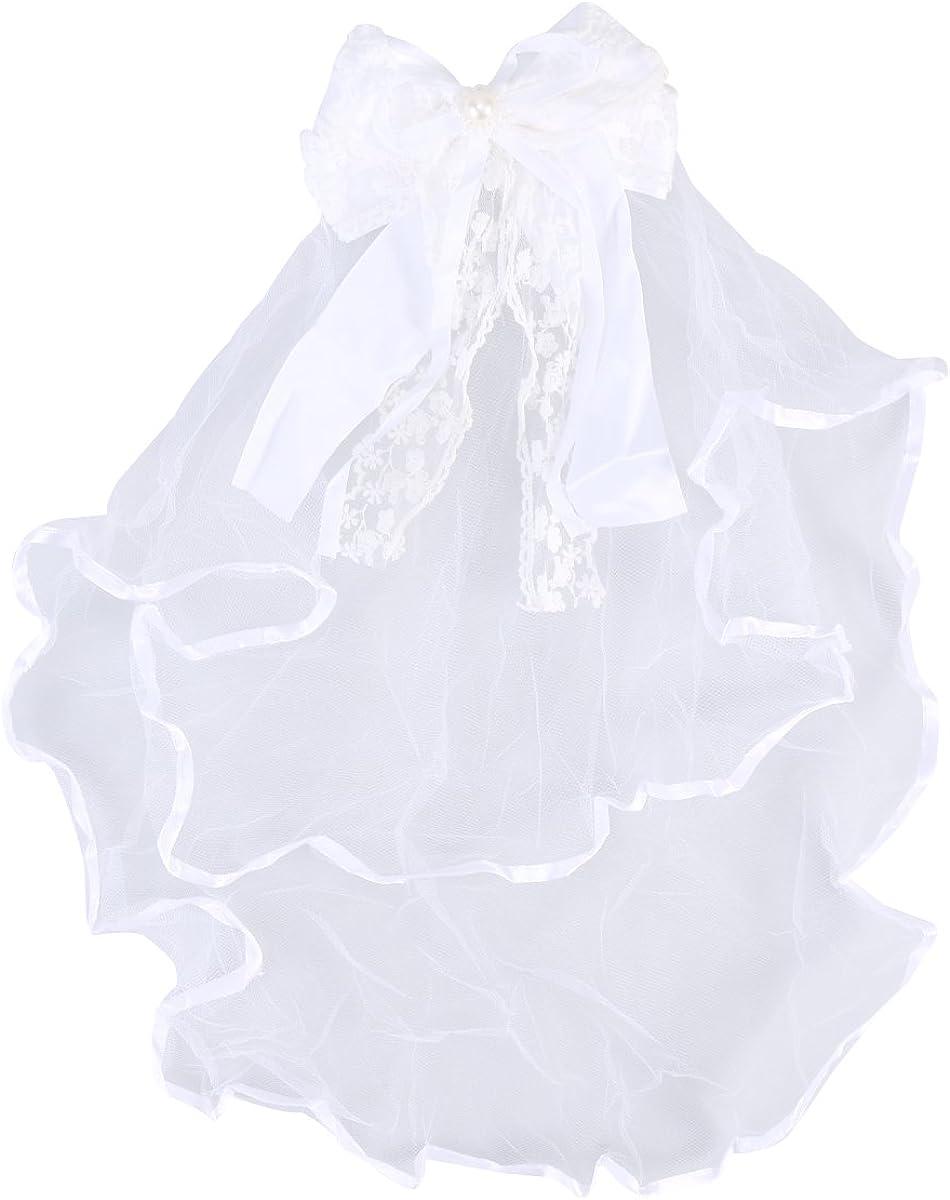 LUOEM Wedding Veil Bowknot Hair Decoration Wedding Yarn Communion Floral Veil with Comb (White)