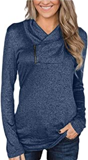 Womens Long Sleeves Pullover Zipper Cowl Neck Tops Solid Color Sporty Sweatshirts