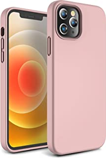 CANSHN Liquid Silicone Case for iPhone 12 & iPhone 12 Pro, Soft Gel Rubber Full Body Protection Shockproof Phone Case Cover for iPhone 12 & iPhone 12 Pro 2020 5G 6.1'' - Pink Sand