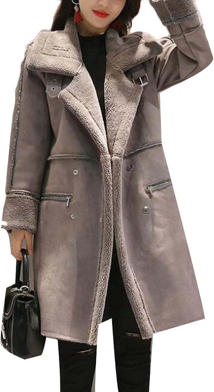 UUYUKWomen Fashion Faux Long Suede Lamb Wool Coat Shearling Jacket