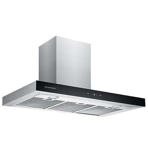 CIARRA Hotte Aspirante 90cm Avec LED Contrôle Tactile 550m³/h Evacuation/Recyclage Filtre à charbon correspondant CBCF003