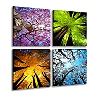 MESESE Art 4 Panels Canvas Wall Art Spring Summer Autumn Winter Four Seasons Landscape Color Tree Pa...