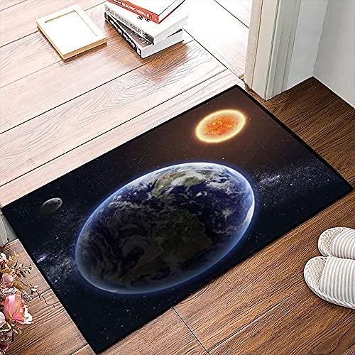 QDYLM Alfombra de baño de Microfibra esponjosa,Clima Nube Tierra Sol Mundo Ozono Ciencia Resumen Rayos de Sol Horizonte alfombras de Ducha de Suave Absorbente de Agua, 50x80 cm