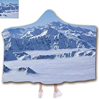 Fashion Blanket Ancient China Decorations Blanket Wearable Hooded Blanket,Unisex Swaddle Blankets for Babies Newborn by,Land over Austrian Alps Summit Climate Skiing,Adult Style Children Style