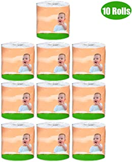 Anself 10 Rolls 10 * 12cm Wood Pulp Toilet Roll Paper Household Bath Tissue Paper with 270 4-ply Sheets Core Breakpoint Design for Home Hotel Supermarket 140g