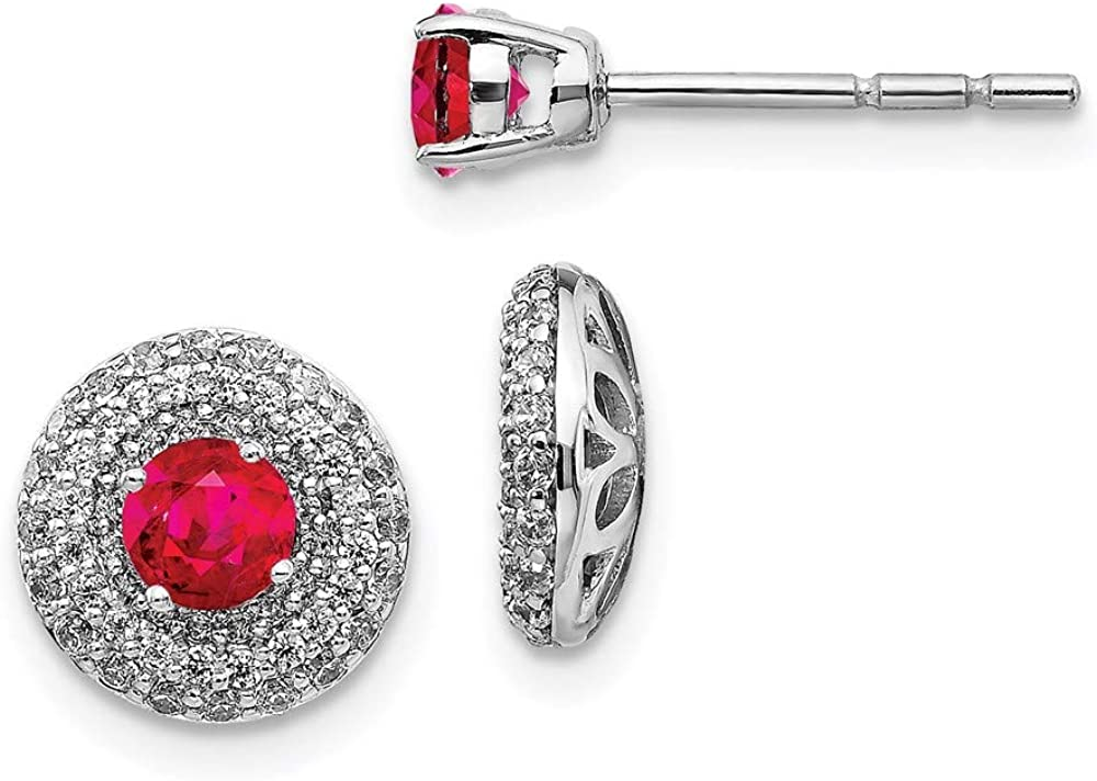14k White Gold Diamond and Ruby Stud with Earring Jackets