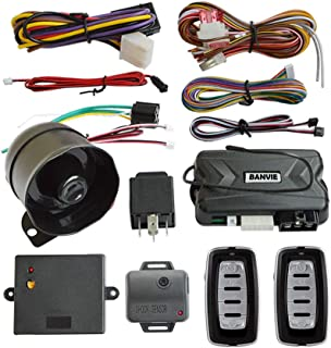BANVIE 1-Way Car Security Alarm System with Remote Engine Start to Warm Car