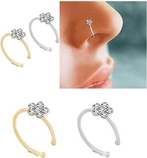 حلقه بینی نگین دار Huangiao نقره ای نازک حلقه بینی حلقه بینی کریستال حلقه بینی (2 عدد)