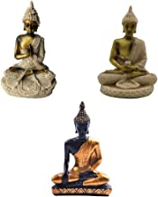 Flameer 3Pcs The Hue Cottage Seated Meditating Buddha Deity Resin Statue Figurine