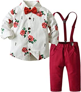 Moyikiss Studio Fashion Baby Kids Boy Gentleman Suits Long Sleeve Printed Shirt with Bowtie+Overalls Clothes Sets Tuxedo